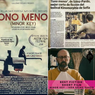 """!""""TONO MENOR"""" (MINOR KEY) RECIBE EL PREMIO AL MEJOR CORTOMETRAJE EN EL """"KINOMORPHIA 2018"""" EN SOFÍA, BULGARIA!"""